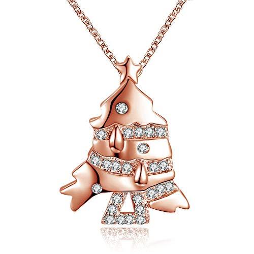 LanDream Collar de Gargantilla, Adornos navideños con Forma de pez pequeño Chapado en Oro Blanco, Collar de circonitas,...