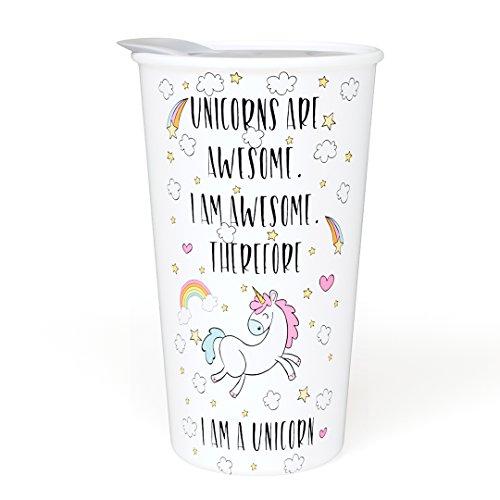 Ceramic Travel Coffee Mug with Lid  - Unicorns Are Awesome -