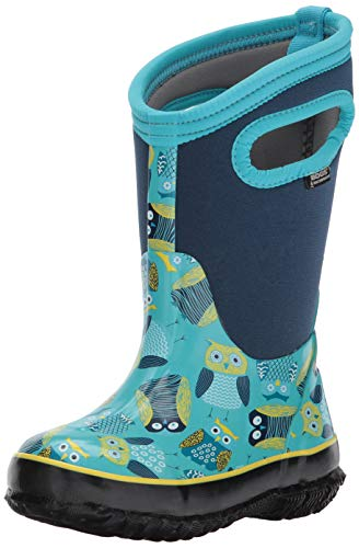 BOGS Kids' Classic High Waterproof Insulated Rubber Neoprene Rain Boot Snow, Owl Print/Blue/Multi, 9 M US Toddler (Boys Muck Snow Boots)