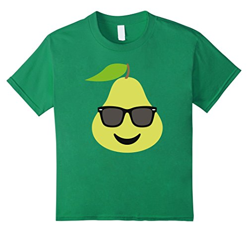 Kids T-Shirt Fun Emoticon Face Happy Sunglasses Fruit Pear 4 Kelly - Happy Face With Glasses