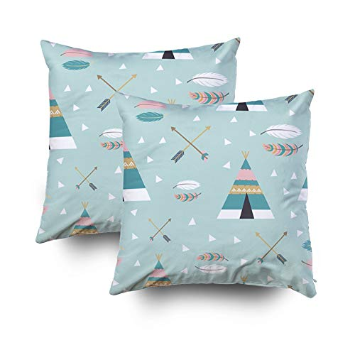 - KIOAO Pillowcase Standard 2PCS 18X18Inches Square for Cushion Home Decorative Watercolor Leaves Green Pillow Covers Printed with Both Sides of Cotton
