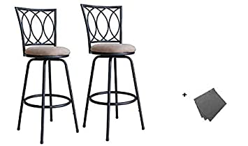 Roundhill Furniture Redico Adjustable Metal Barstool, 2 Sets of Powder Coated Black Stool Freebie Cloth