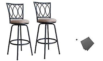 Roundhill Furniture Redico Adjustable Metal Barstool, 2 Sets of Powder Coated Black Stool Freebie Cloth