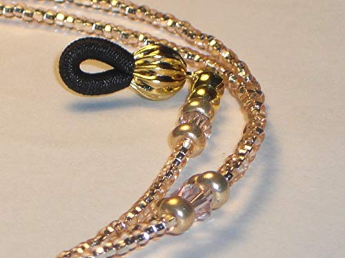 - Beaded Eyeglass Chain Holder Blush Rose Goldtone Pink Champagne 28 inches NEW Fancy Ends