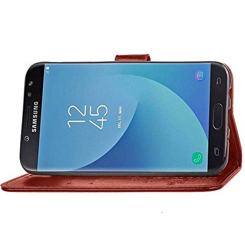 Funda Samsung Galaxy J7 (2017) J730 (European Version) [Happon] Ranuras para Tarjetas y Billetera Carcasa PU Libro de Cuero Flip Leather Cierre Magnético Soporte Plegable para Samsung Galaxy J7 (2017) Marrón