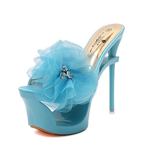 Xing Lin Zapatos De Verano Para Las Mujeres Cuñas 16Cm De Alto, Con Sandalias De Verano Hembra Grande Insertar La Broca Con Forma De Agua Como El Fino Con Ranuras Y Vida Nocturna. The blue