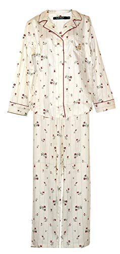 Ralph Lauren Red Rose Bud Print Cotton Woven Pajamas PJ's (Cream with Vertical Lines Red Rose Buds Green Leaves, Large)