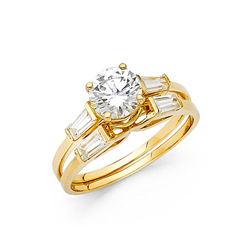 (14k Yellow Gold CZ Round Engagement Ring & Wedding Band Bridal CZ Rings Set Baguette Side Stones Size 5)