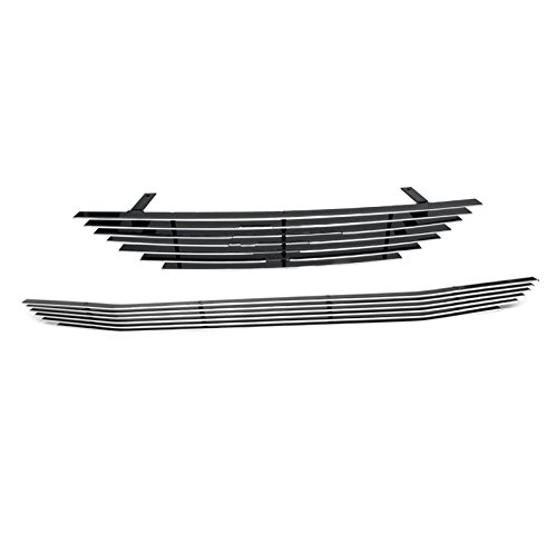 ZMAUTOPARTS Upper + Bumper Billet Grille Grill Insert Combo Pony Cutout For 1994-1998 Ford Mustang