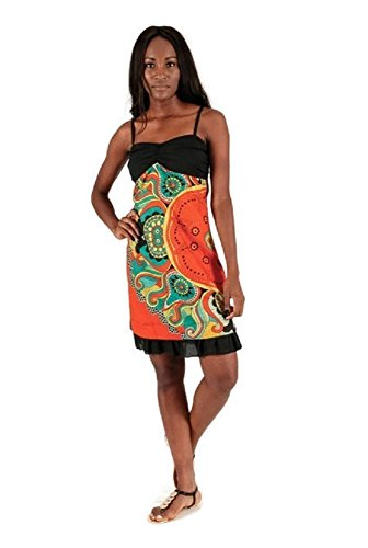 citydress24 - Robe - Trapèze - Femme noir Orange 38