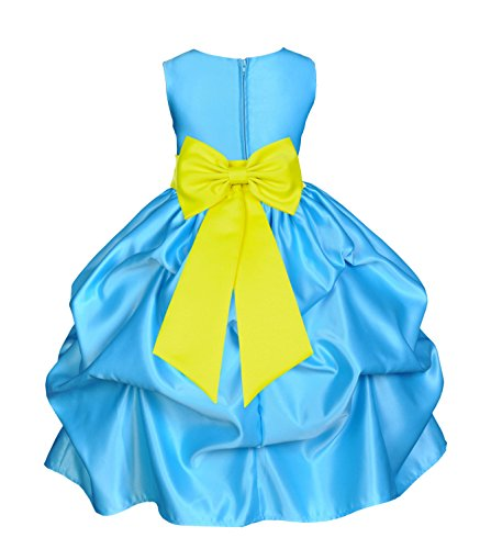 ekidsbridal Turquoise Satin Bubble Pick-Up Flower Girl Dress Pageant Dress Ball Gown 208T (Pickup Ball Gown)