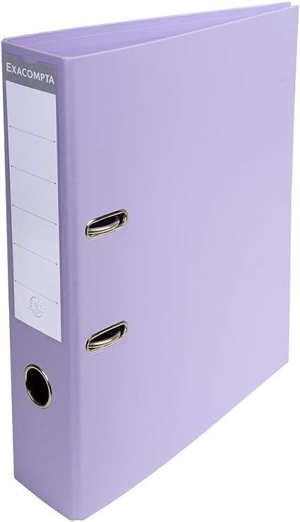 Exacompta - Archivador de palanca de PVC en tamaño A4 PremTouch (2 anillas, 70 mm), color lila: Amazon.es: Oficina y papelería