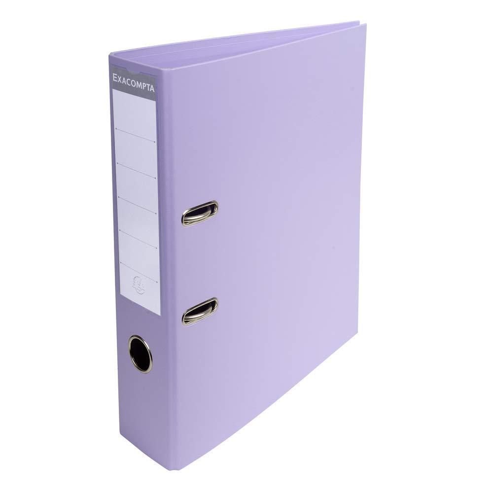 Exacompta - Archivador de palanca de PVC en tamaño A4 PremTouch (2 anillas, 70 mm), color lila
