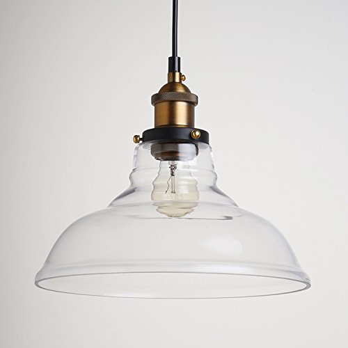 Industrial Factory Glass Pendant Light – Battaa CBL8033 2017 New Design Antique Brass Light Fixtures Handblown Glass Shade Chandelier for Living Room Bed Room Kitchen Restaurant Bar Cafe Balcony Study 2-years warranty (Mercury Glass Chandelier)