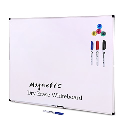 XBoard 48 x 36 Inch Large Magnetic Dry Erase Boards Set, Aluminum Frame Wall Mounted Whiteboard with 3 Dry Erase Markers & 4 Push Pin Magnets - Marker Pins