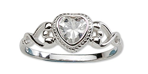 l CZ Simulated Birthstone Baby Ring with Heart (Precious Baby Girl)