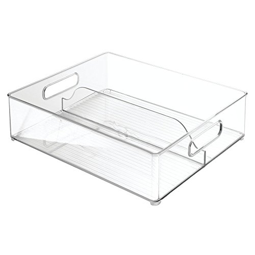 InterDesign Refrigerator and Freezer Divided Storage Container - Organizer Bin for Kitchen, Clear