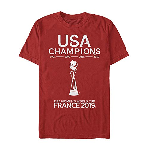 FIFA WWC France 2019 USA Champs Tee Shirt, Red, Large