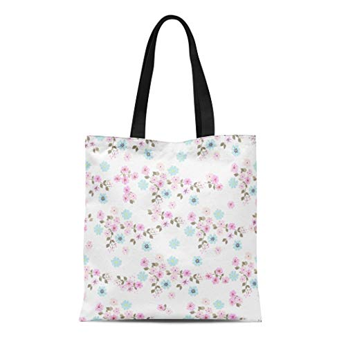 Semtomn Cotton Canvas Tote Bag Vintage Feedsack Pattern in Small Flowers Millefleurs Floral Sweet Reusable Shoulder Grocery Shopping Bags Handbag Printed