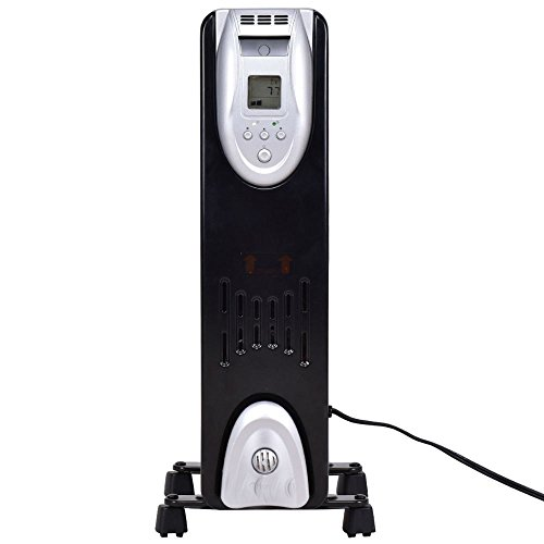1500W Electric Oil Filled Radiator Heater Safe Digital Temperature Adjust Timer Oil Filled Heaters