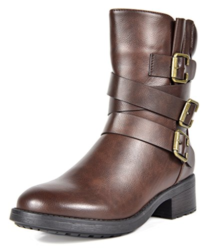 DREAM PAIRS Women's Strappy Brown Faux Fur Mid Calf Riding Combat Boots Size 10 M US (Calf Mid Brown Boots)