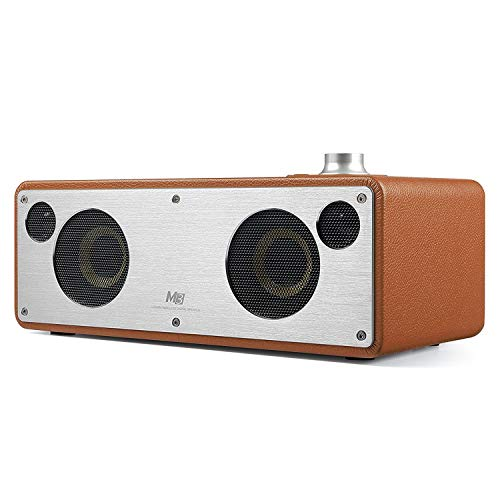 WiFi Bluetooth Speaker, GGMM Smart WiFi Speaker for Streaming Music, HiFi Audio Stereo Surround Powerful Bass Speaker, AirPlay Speaker Wooden Cabinet (Camel)