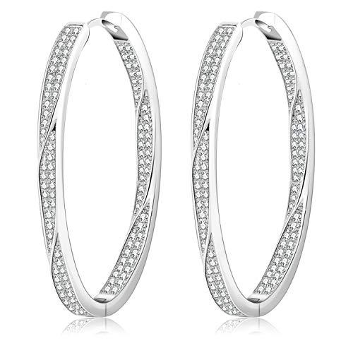 Rhinestone CZ Hoops Earrings for Women Girls Twist 40mm Large Silver Plated Dangle Drop Pave Big Hoop Earrings Durable for Sensitive Ears