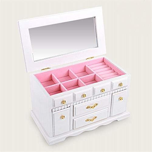 BZM-ZM エレガントなジュエリー収納ボックス多機能ソリッドウッドベルトロックの布棺ジュエリーボックスパールボックス、白い宝石箱