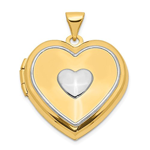14k Yellow Gold 21mm Heart Photo Pendant Charm Locket Necklace That Holds Pictures Key Inside Fine Jewelry Gifts For Women For Her ()