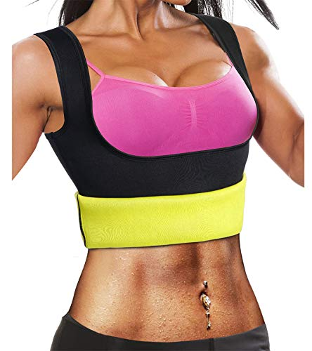 Ursexyly Fat Burner Sweating Vest Shirt Neoprene Slimming Sauna Suit Tank Top for Women (Black Sauna Vest, L, US 12-14) ()