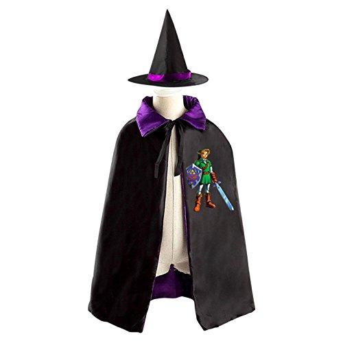 Childrens' Halloween Costume Cloak Cool Robe Wizard Hat Cosplay Zelda Link For Kids