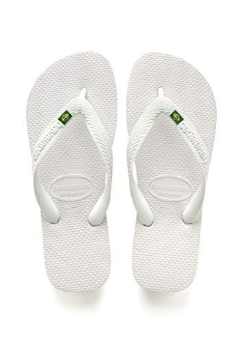 (Havaianas Brazil Flip Flop Sandals, White, 41/42 BR (11-12 M Women's/9-10 M US)