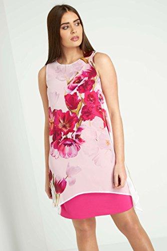 38 Robe superpos Roman imprim Effet Floral Tailles Femmes Mousseline Rose 48 Orchide Originals en Zqxw5ptwP