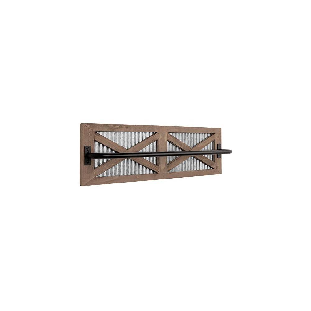 Autumn Alley Wall Mounted Towel Rack Holder for Bathroom, Kitchen, Garage – Rustic Wood Farmhouse Industrial Towel Rack…