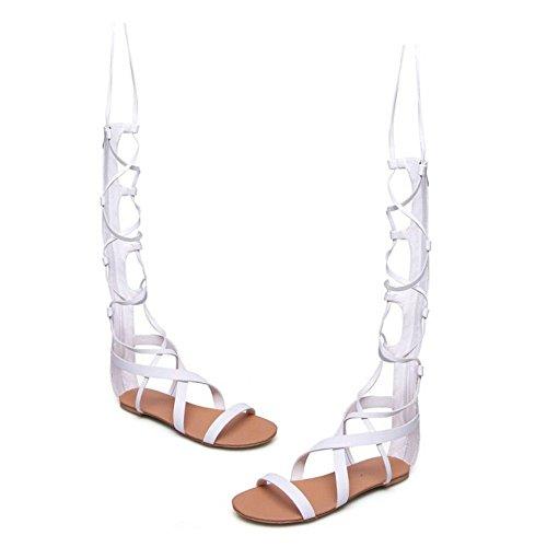 COOLCEPT Hot Sale Moda Mujer Cordones Knee High Gladiator Tacon de Vaquero Sandalias with Cremalleras 1172 Blanco
