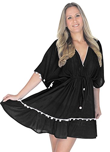 ricamato costume l582 leggero vestito bagno occultamento di da beachwear del camicia LEELA LA da bagno bikini Nero costumi Yn1EBzzq