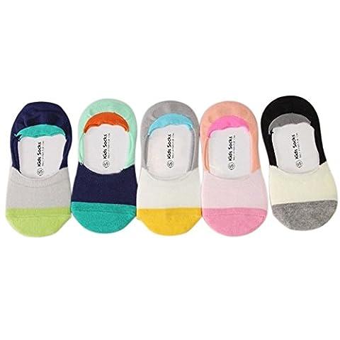 VWU 5 Pack Baby No Show Anti Slip Socks Toddler Low Cut Cotton Socks 1-3/3-5Y (3-5 years old, Color block)