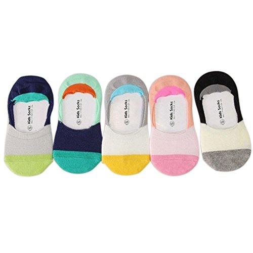 VWU 5 Pack Baby No Show Anti Slip Socks Toddler Low Cut Cotton Socks 1-3/3-5Y (1-3 years old, Color block)