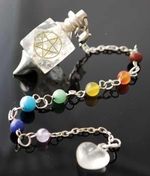 Pentagram Pendulum - New Age Clear Quartz 7 Chakra w/Pentagram Pendulum