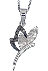Vir Jewels Sterling Silver Champagne Diamond Pendant (1/8 CT) With 18 Inch Chain