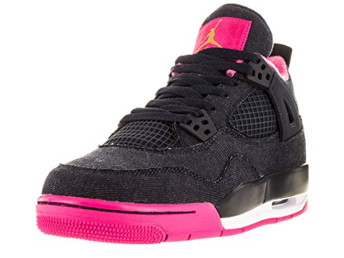 Nike Jordan Kids Air Jordan 4 Retro Gg Drk Obsdn/Mtllc Gld/Vvd Pnk/Wh Basketball Shoe 4 Kids US by Jordan