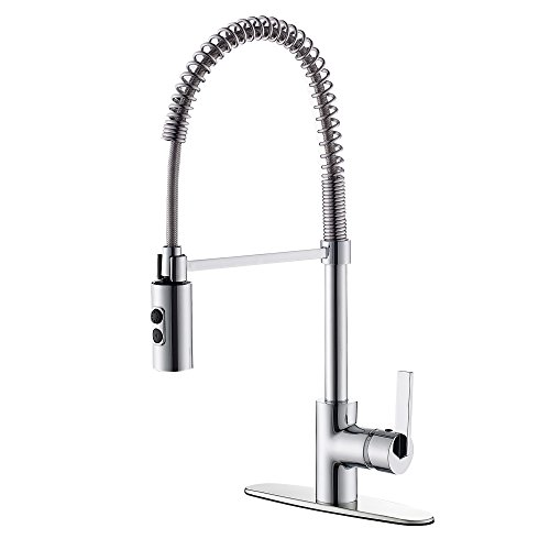 TimeArrow TAF852R-CP Modern Commercial Chrome Pull Down Sprayer Kitchen Faucet, Single Handle Kitchen Sink Faucet With Deck Plate