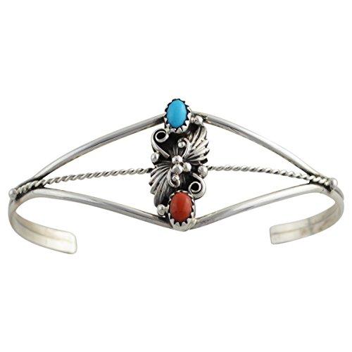 Turquoise Leaf Bracelet - Sterling Silver Turquoise & Coral Leaf Navajo Bracelet