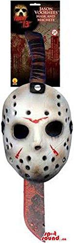 Scary Jason Horror Movie Character Mask And Machete