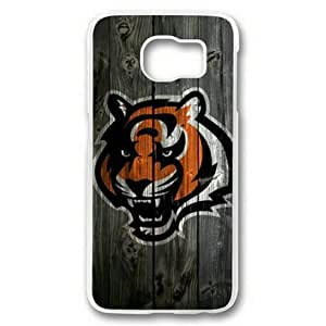 Galaxy S6 Case,Samsung Galaxy S6 Case,Cincinnati Bengals Wood Hard Shell Transparent Edges Case for Samsung Galaxy S6 by mcsharks