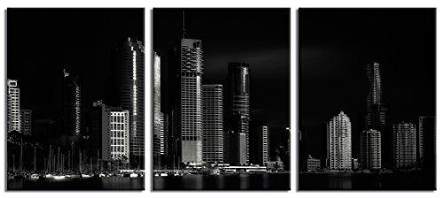 JP London CNVT1X519932 Gallery Wrap Canvas Jpl & Steven fudge Present Brisbane City of Light Black White City Skyline 54In Wide By 24In High Heavyweight Canvas Triptych Wall Art - Steven Wrap