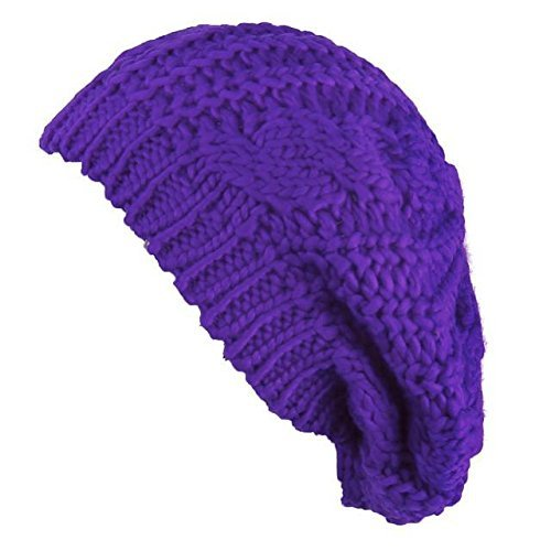 (Eforstore Knitted Hats Winter Slouchy Beanie Cable Hat Women Warm Knitting Crochet Slouch Beret Braided Baggy Beanies Ski Cap)