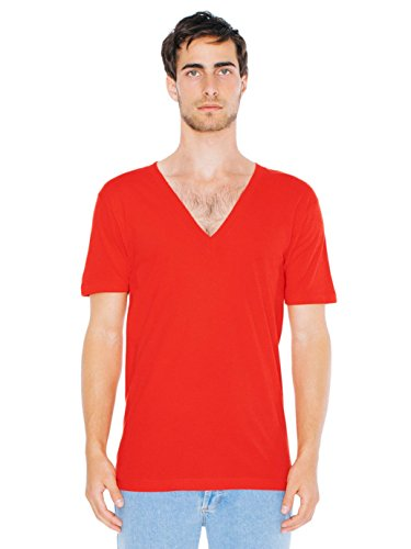 American Apparel Men Sheer Jersey Deep V-Neck T-Shirt Size L Red