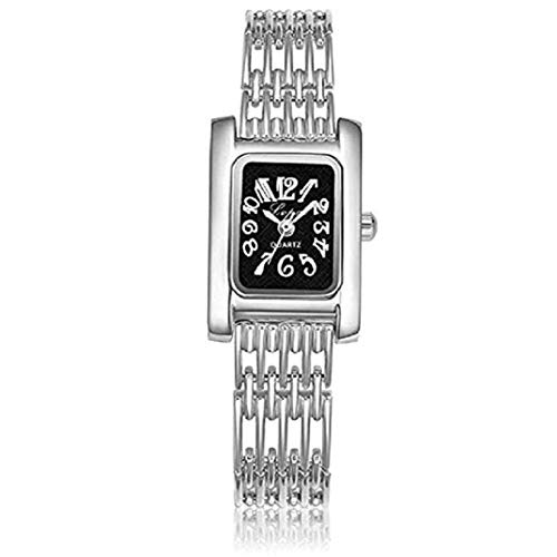 Dial Bangle Bracelet Watch - TOPOB Women Fashion Silver Quartz Bangle Bracelet Wrist Watch, Created Rectangle Dial Stainless Steel Strap Accessories (Silver)