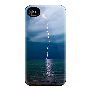 Iphone 4/4s Hard Back With Bumper Silicone Gel Tpu Case Cover Lightning Strike Iphone Wallpaper